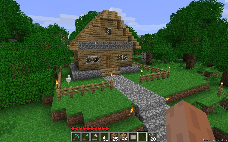 примеры самых популярных домов в майнкрафт: дом у озера и дом в лесу Заключительный вид домов. дома не большие но...